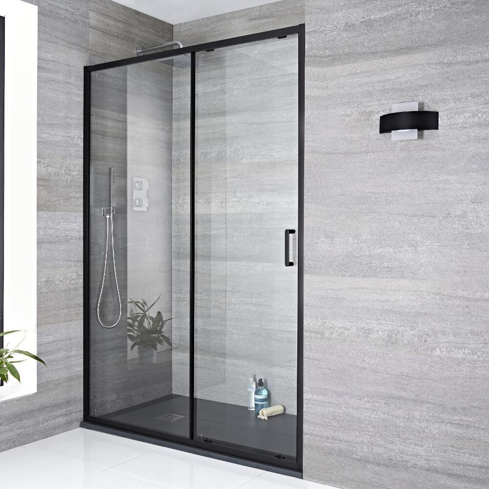 nox douche schuifdeur 6mm veiligheidsglas zwart 195cm x 140cm. Black Bedroom Furniture Sets. Home Design Ideas