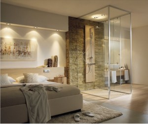 Geweldige badkamer cre ren in de slaapkamer hudson reed - Open douche ruimte ...